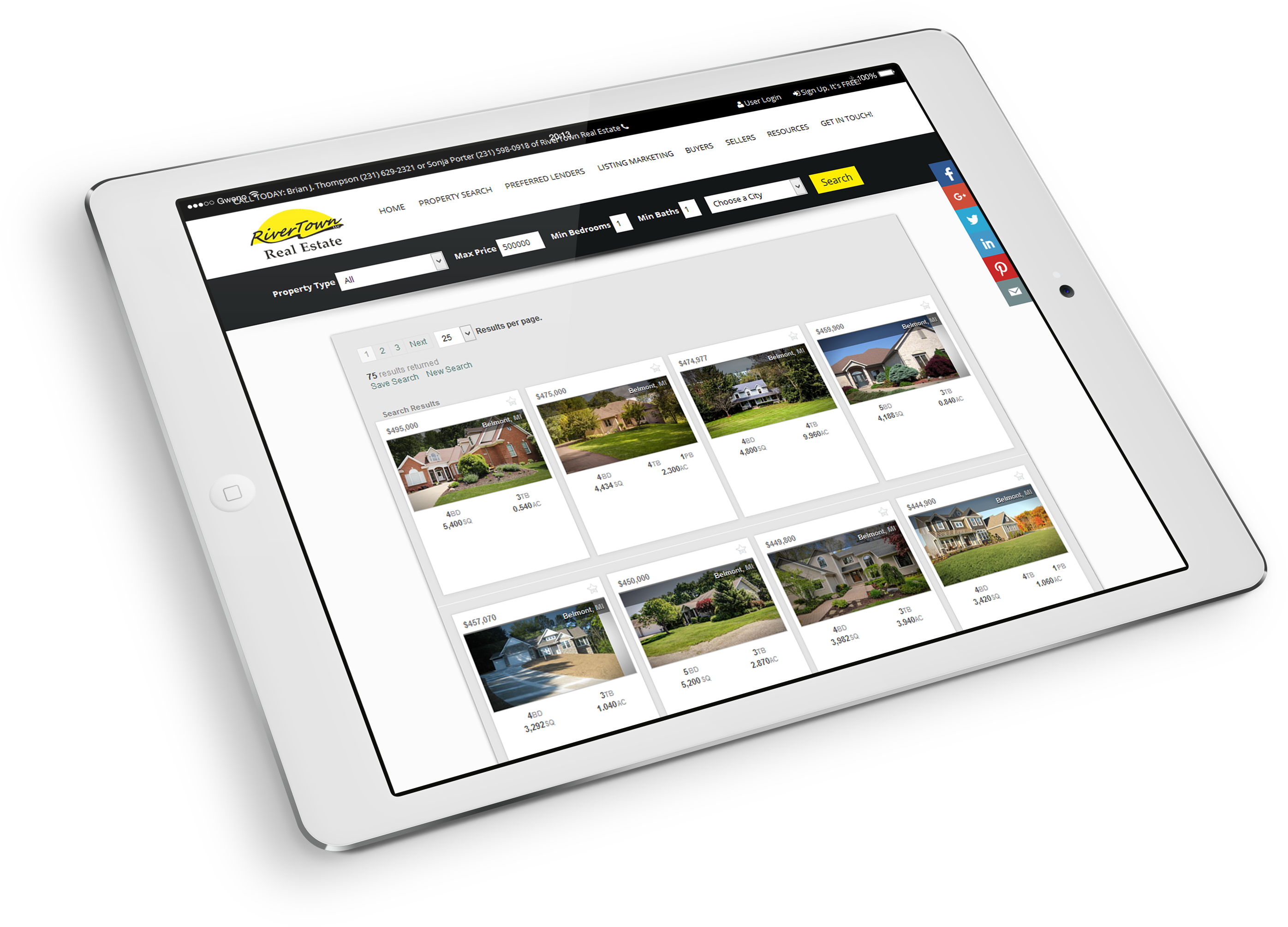 real estate semi custom website mobile