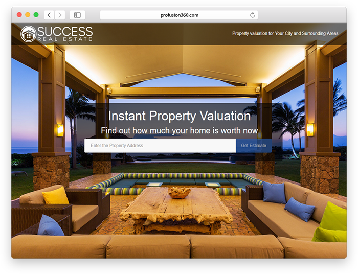 home valuation page design