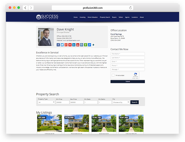 broker website agent profile page