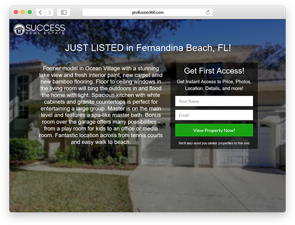 real estate landing page just listed
